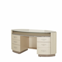 Overture Glamour Upholstered Cristal Beige Oval Executive Desk With Glass Top
