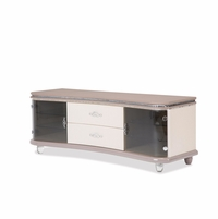 Overture Glamour Upholstered Curved Tv Stand In Cristal Beige