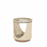 Overture Glamour Upholstered Round Glass Top End Table In Cristal Beige