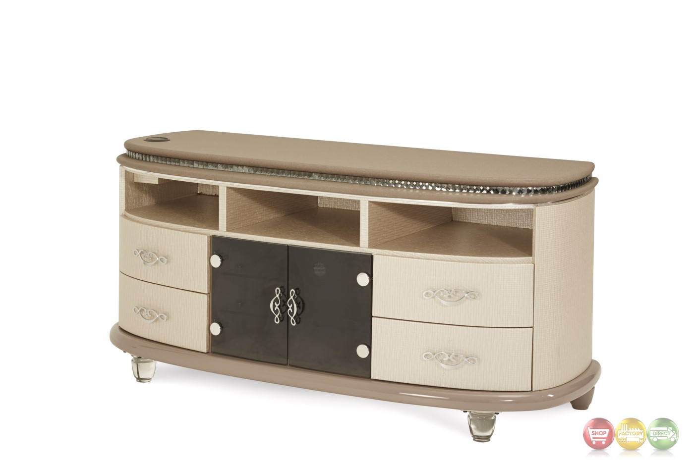 Overture glamour upholstered tv stand in cristal beige for Furniture 08081