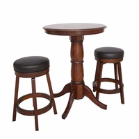 "Oxford 3 Piece Hardwood 30"" Pub Table Set In Walnut Finish"