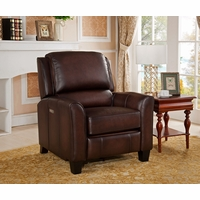 Oxford Traditional Genuine Brown Leather Powered Reclining Chair