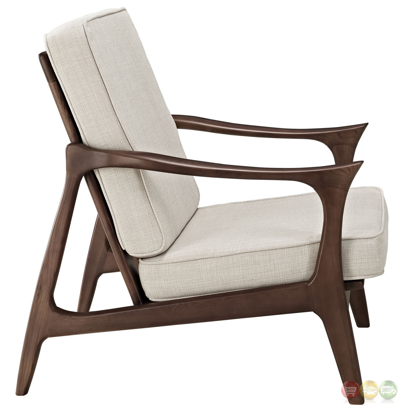 Paddle Contemporary Wooden Lounge Chair With Upholstered Cushions Brown