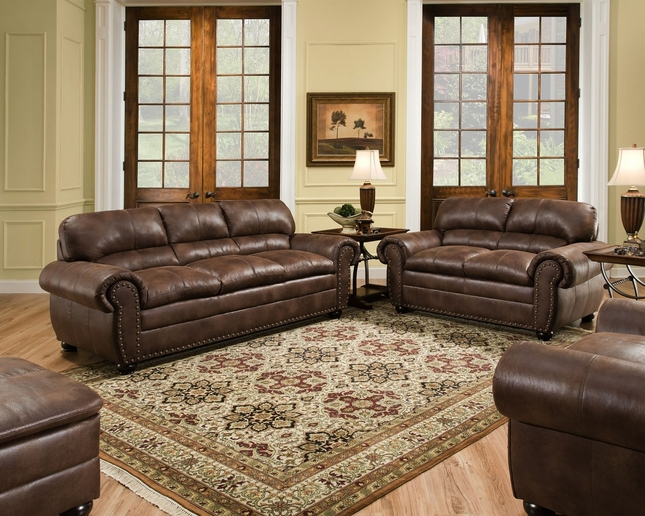 Padre Chocolate Brown Living Room Furniture Set W/ Nailhead Accents Simmons