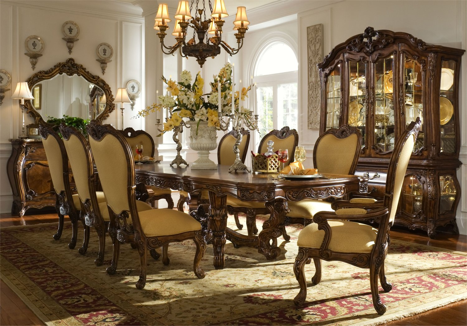 Michael Amini Palais Royale Rococo Cognac Traditional Dining Room Set By AICO