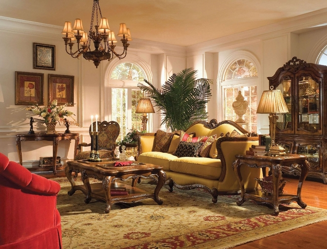 Michael Amini Palais Royale Rococo Wood Trim Sofa Set by AICO