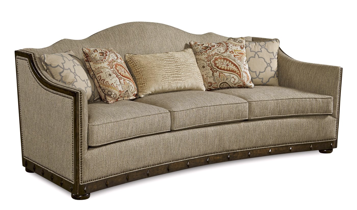 Palazzo Beige Italian Camel Back Sofa With Modern Curved Wood Frame