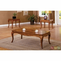 Palm Coast Antique Oak Accent Tables with Curved Apron and Legs CM4438