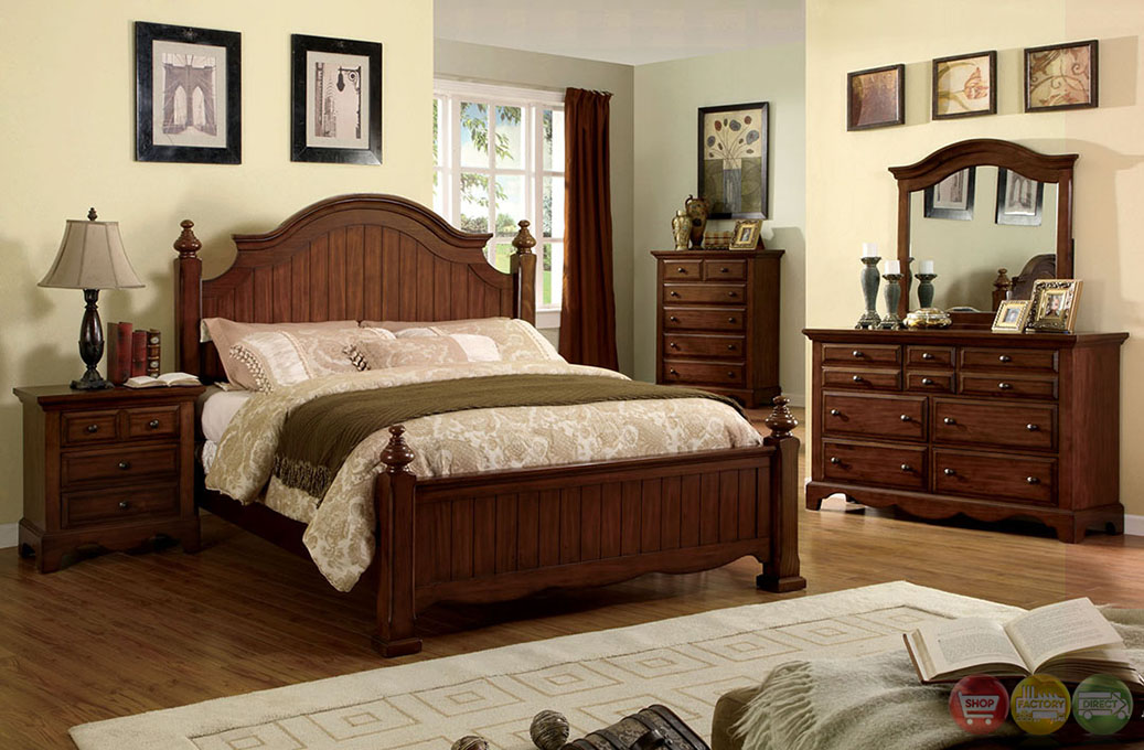 Palm coast distressed light walnut panel bedroom set with - Distressed bedroom furniture sets ...