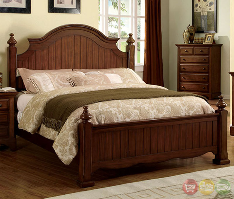 Palm coast distressed light walnut panel bedroom set with for Classic furniture gold coast