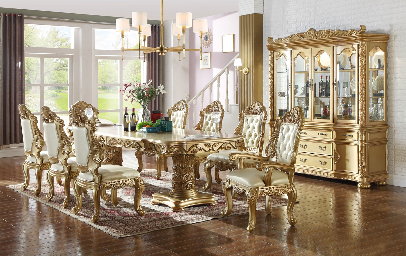 Paloma french provincial 84 120 gold 5 pc double for 120 dining table sets