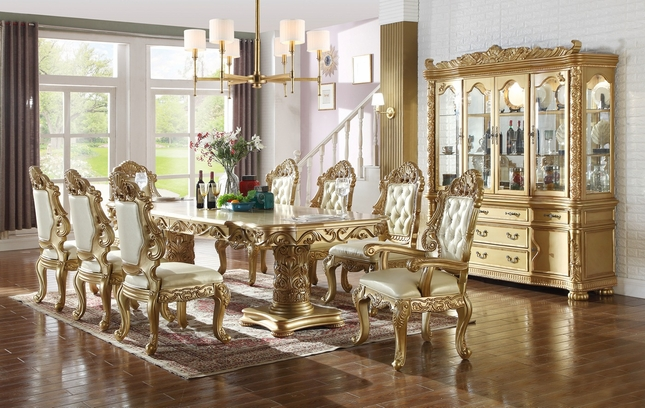 Paloma French Provincial 84 120 Gold 5 Pc Double Pedestal Dining Table Set