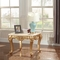 Paloma Traditional Beige Marble End Table with Rich Gold Finish