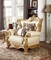 Paloma Traditional Pearl Beige Bonded Leather Chair w/ Gold Finish