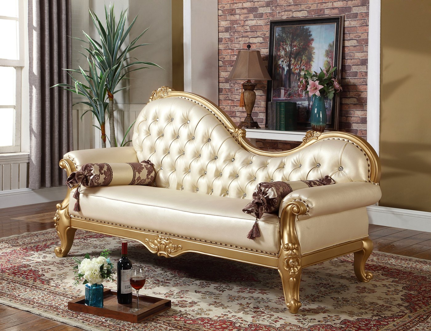 Paloma Traditional Pearl Beige Bonded Leather Chaise W