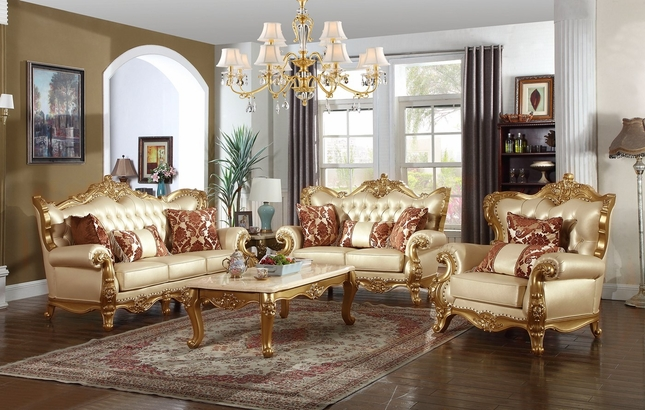 Paloma Traditional Pearl Beige Bonded Leather Sofa U0026 Loveseat W/ Gold Finish