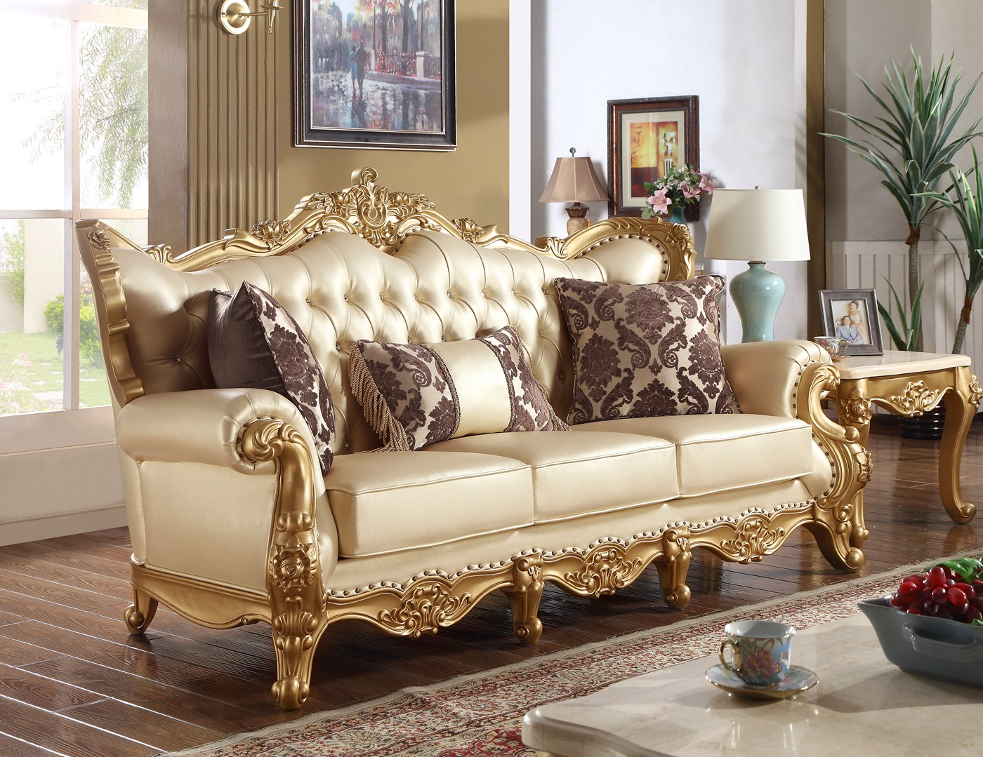Paloma traditional pearl beige bonded leather sofa w gold for Paloma leather sofa