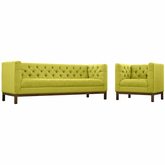 Mid-Century Modern Panache 2pc Sofa & Armchair Set, Wheatgrass