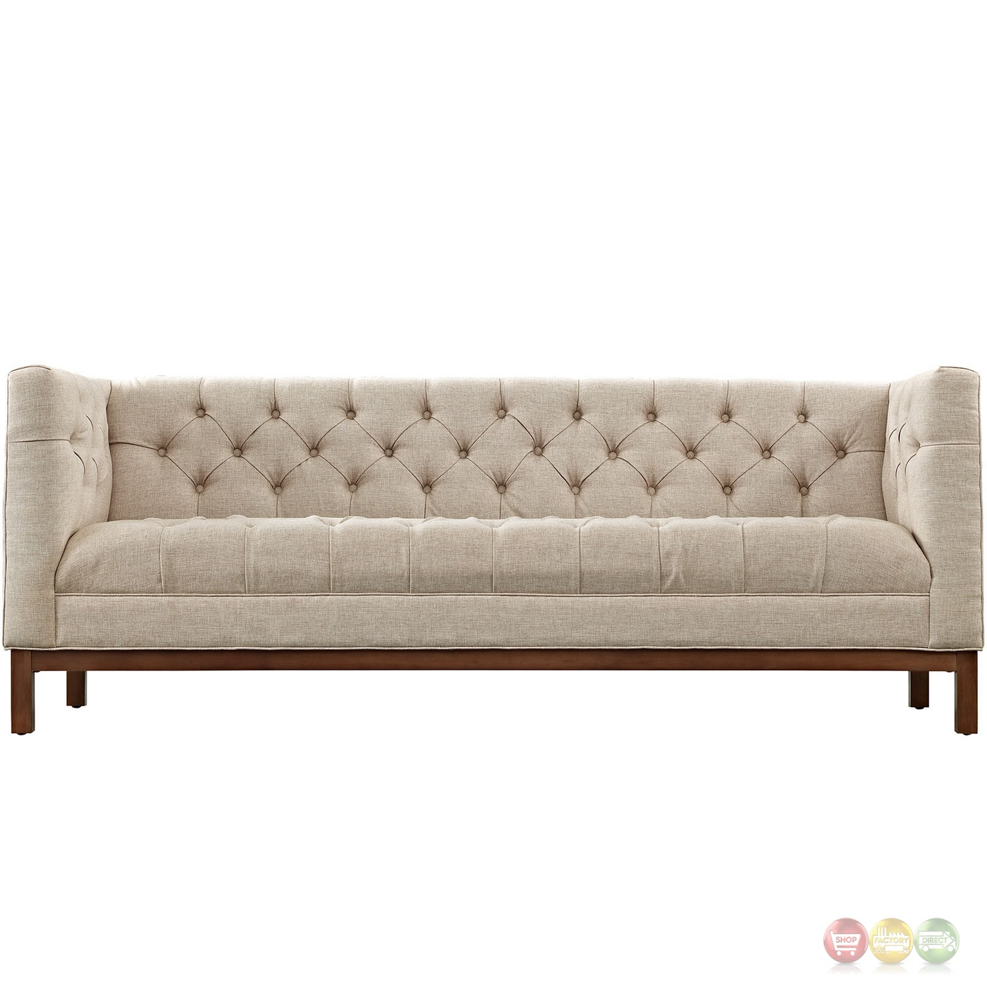 Panache Vintage Square Button Tufted Upholstered Sofa Beige