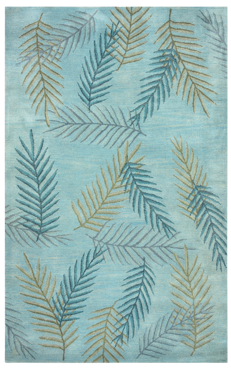 Pandora Leaf Detail Pattern Wool Area Rug In Blue Brown