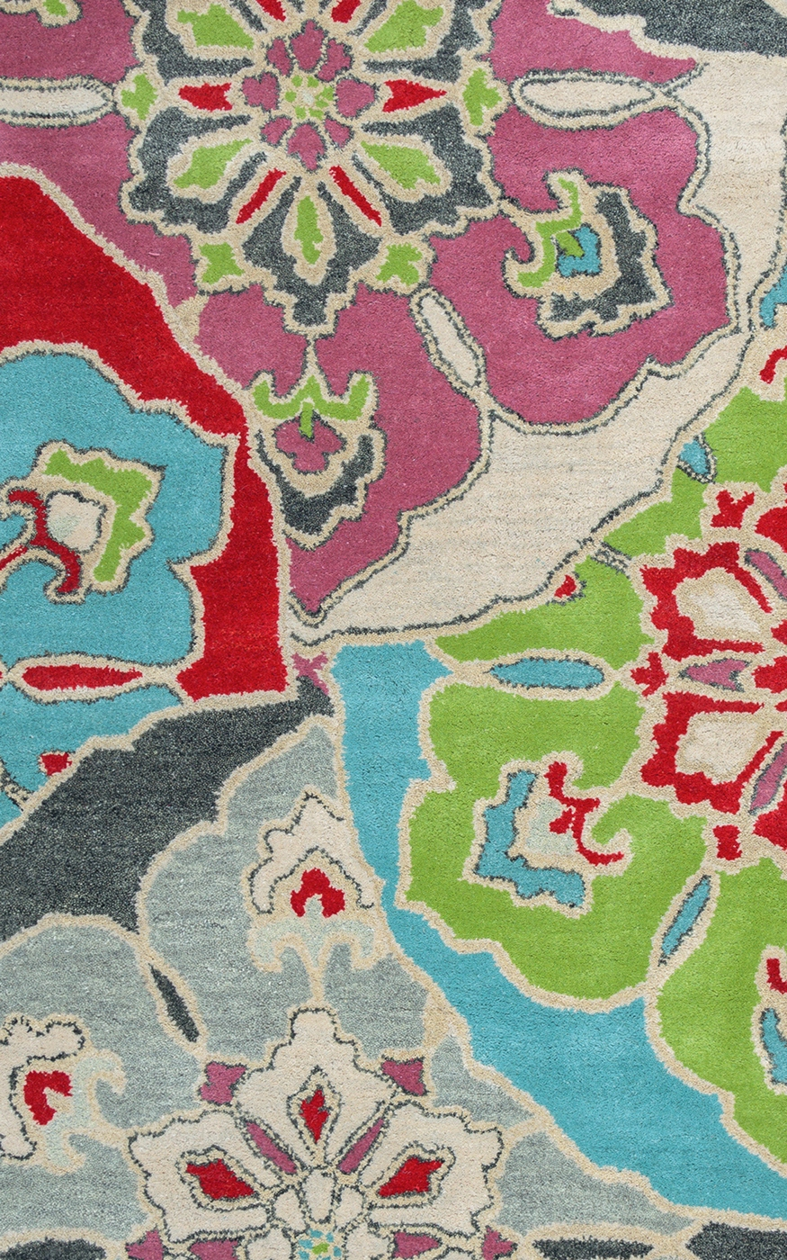 Pandora Vibrant Wildflower Wool Area Rug In Blue Pink Red