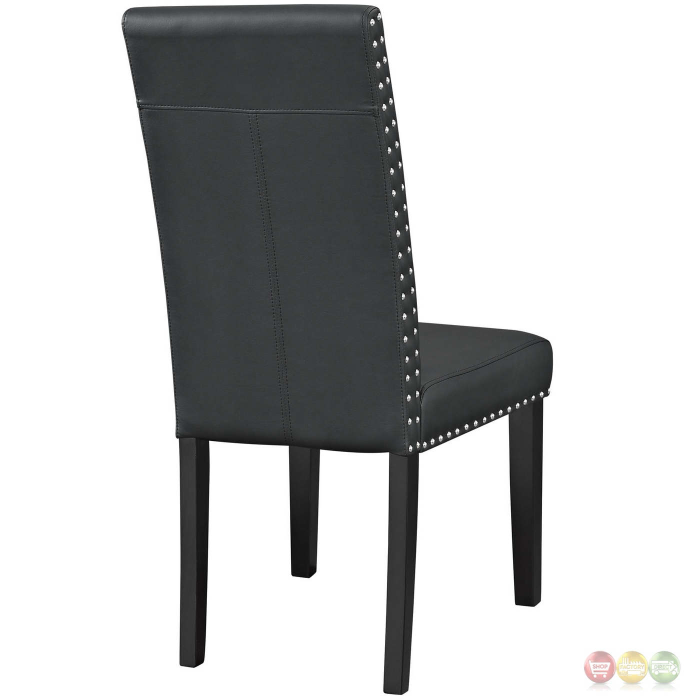 Parcel contemporary faux leather dining side chair with for Contemporary black dining chairs