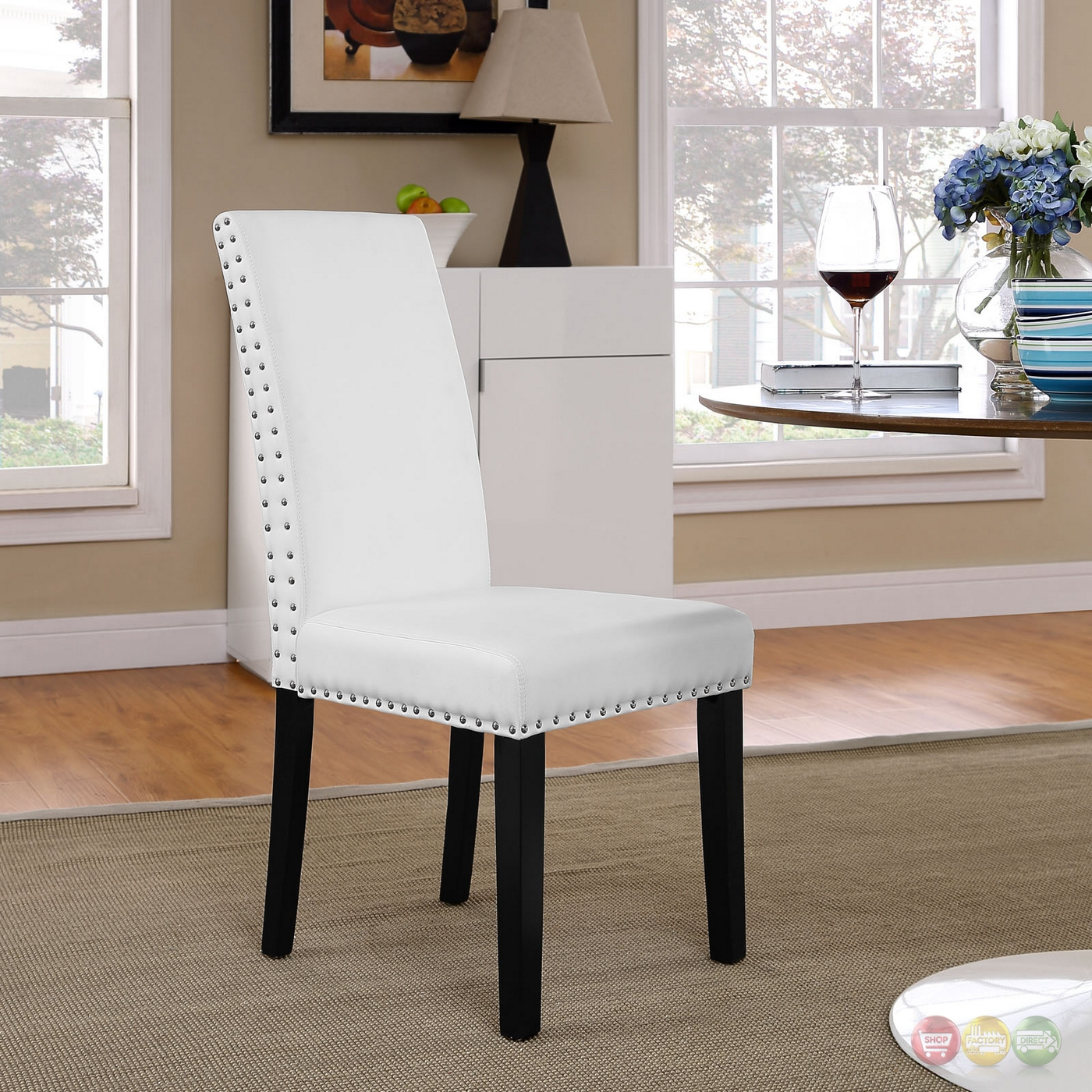 Parcel Leather Dining Side Chair With Nail Head Trim, White