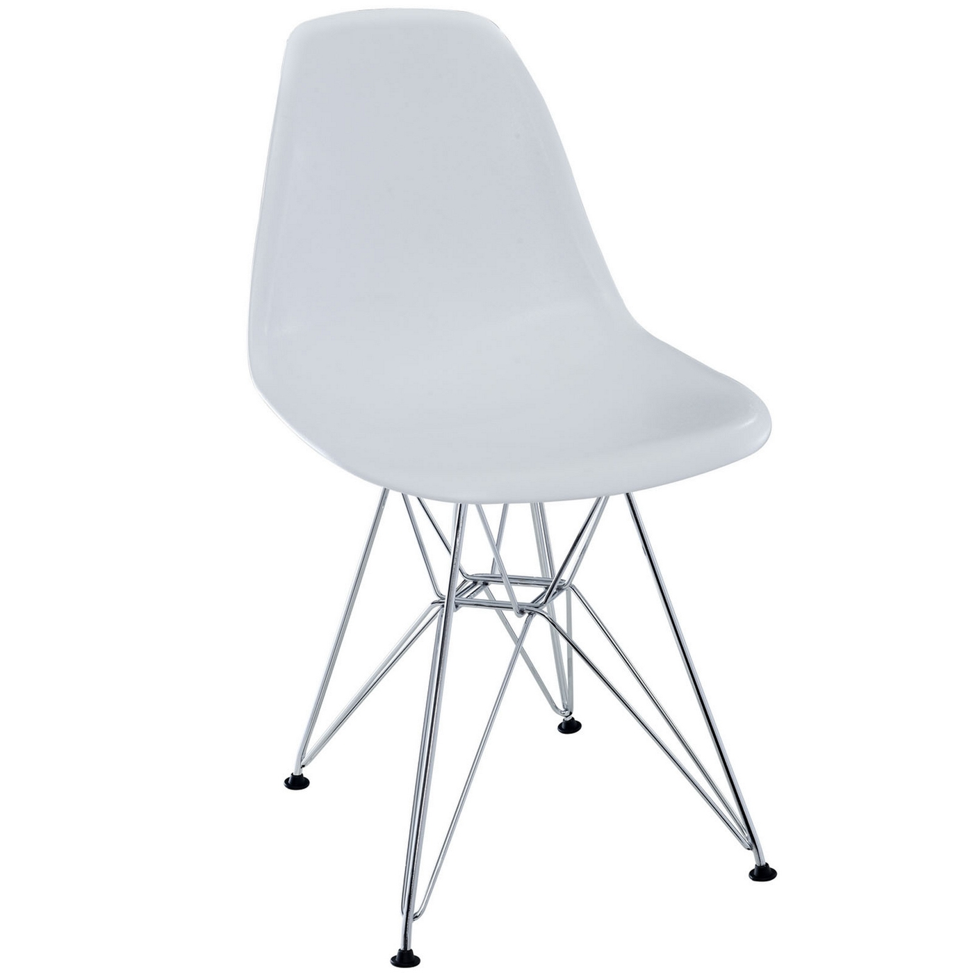 Paris modern plastic side chair with chrome steel base white for Plastic modern chairs