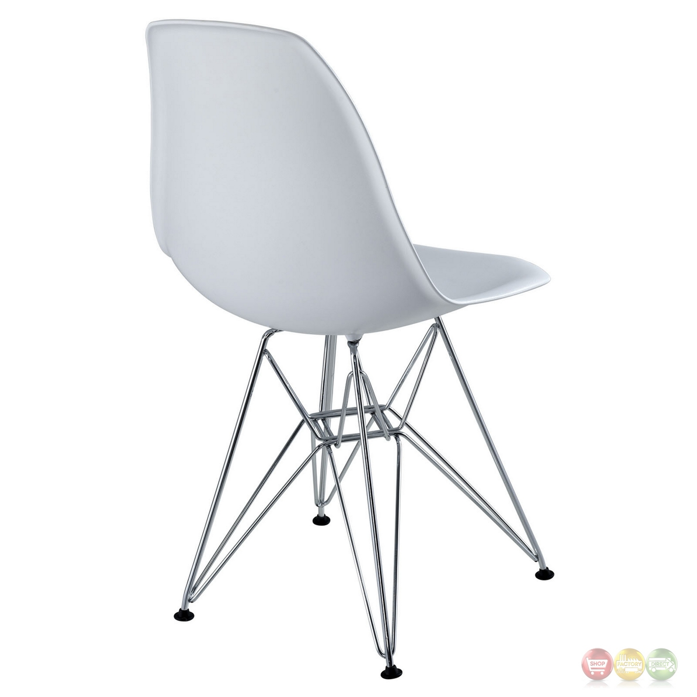 paris modern plastic side chair with chrome steel base white. Black Bedroom Furniture Sets. Home Design Ideas
