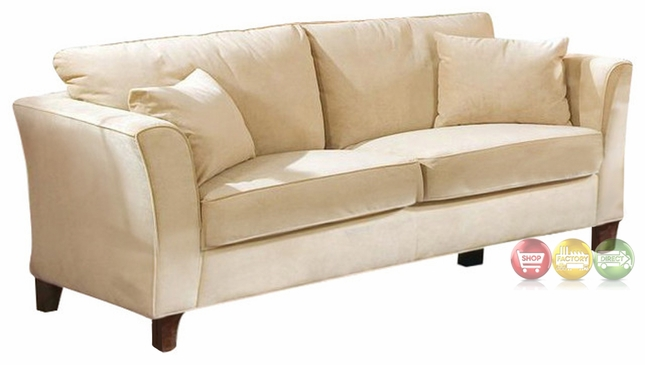 Park Place Contemporary Cream Colored Velvet Sofa Beige Couch Tan