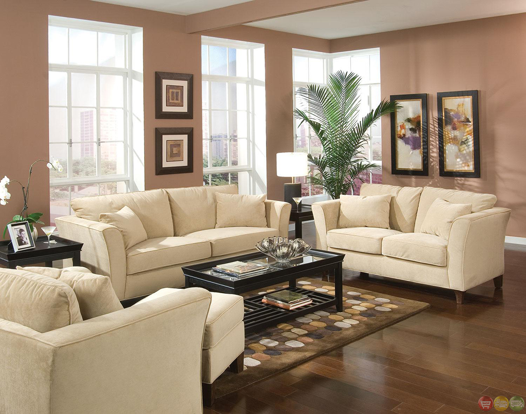 Park place velvet upholstered living room furniture set for Living room sets