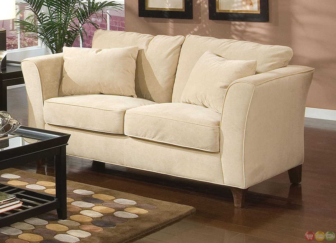 Park place contemporary cream velvet upholstered living room furniture set for Contemporary living room chairs
