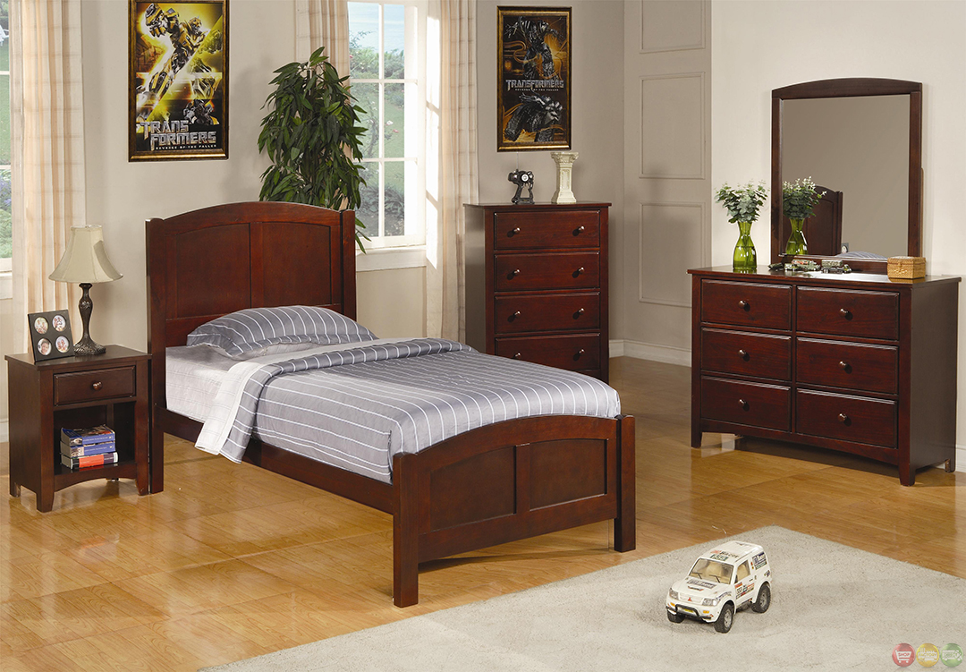 Parker Brown Cherry Finish Twin Panel Bedroom Furniture Group