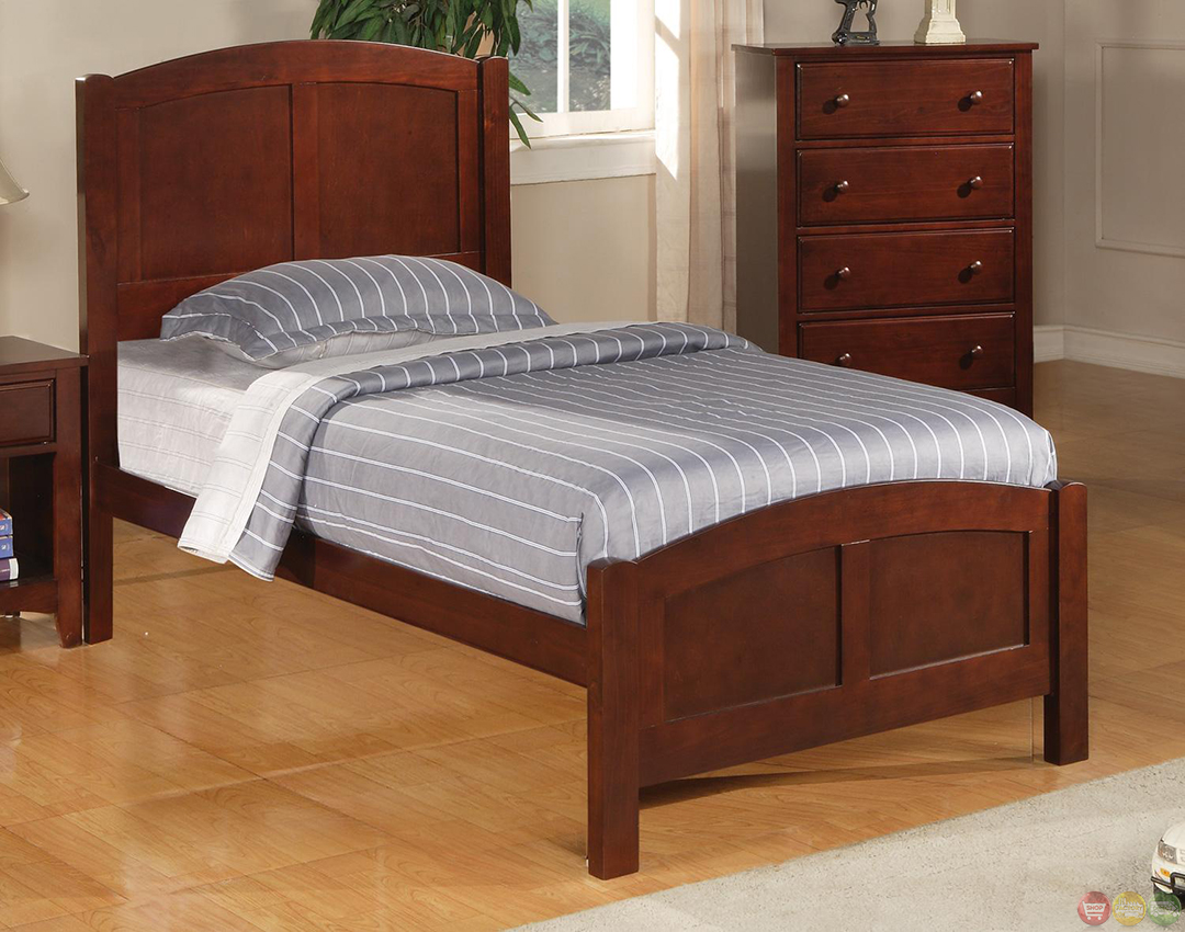 Parker Brown Cherry Finish Twin Panel Bedroom Furniture Set