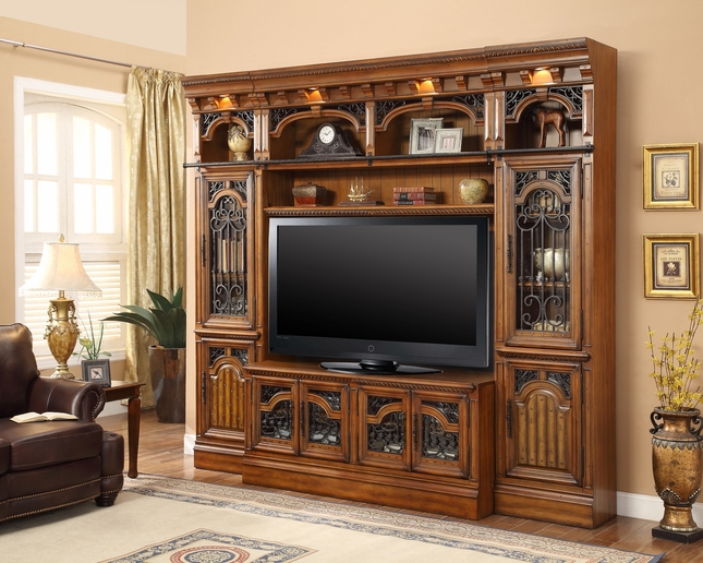 parker house barcelona library 60 tv entertainment center wall unit. Black Bedroom Furniture Sets. Home Design Ideas