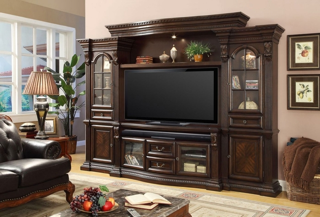 "Parker House Bella Estate 67"" Console Entertainment Wall Unit Dark Wood Finish"