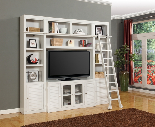 "Parker House Boca Cottage White Wall Unit With 56"" TV Console"