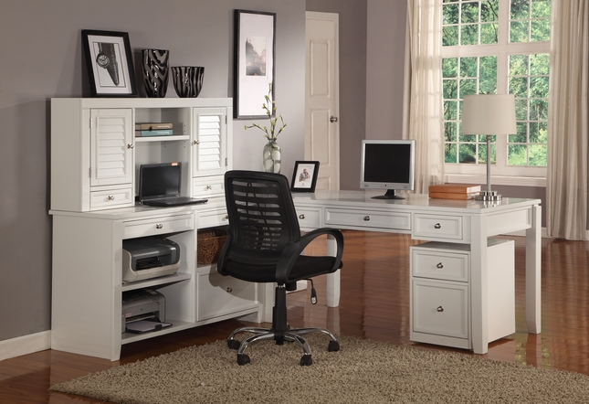 Boca Transitional White Modular Office Furniture L Shaped Desk Credenza Hutch