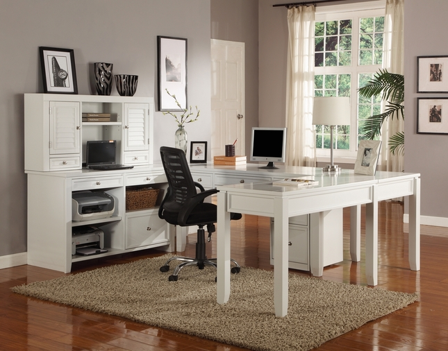 Boca Transitional White Modular U Shaped Office Furniture Desk Credenza Hutch