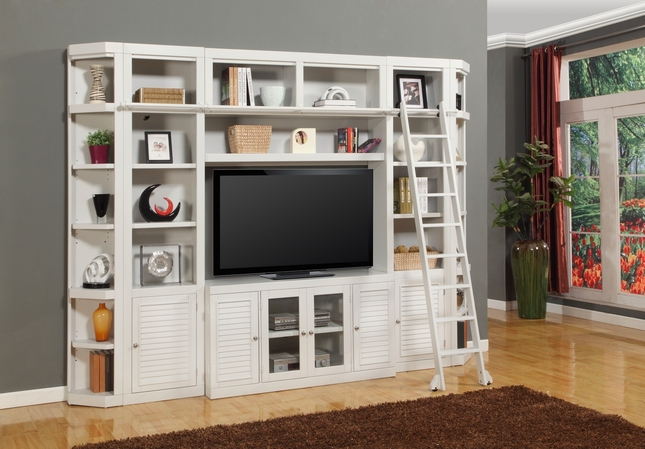 "Parker House Space Saver Boca Cottage White 56"" Entertainment TV Wall Unit"