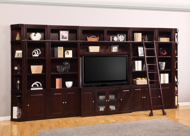 "Parker House Boston Large 56"" Entertainment Wall Unit in Merlot Finish"
