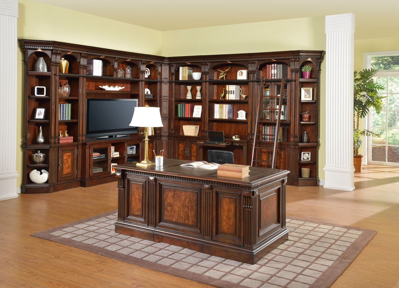 """Corsica Home Office L Shaped Library Wall w/ 60"""" TV ..."""
