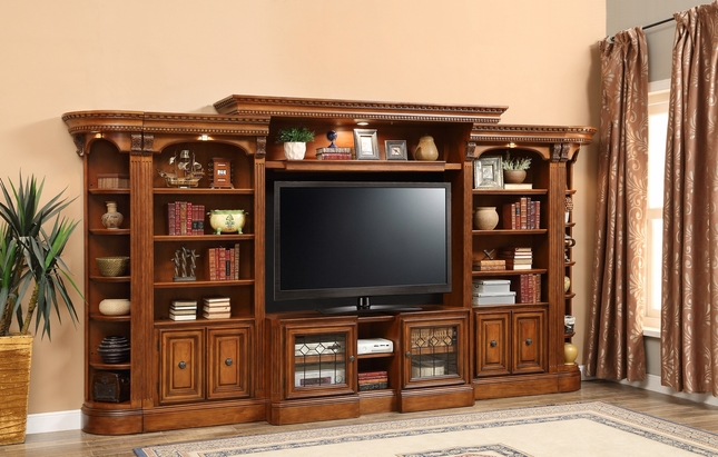 "Grand Huntington Wall Unit w/ 48"" - 72"" Expandable TV Console Vintage Pecan"