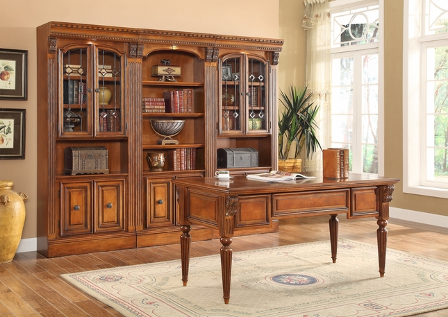 Huntington Home Office Writing Desk U0026 3pc Library Bookshelves W/ Cabinets