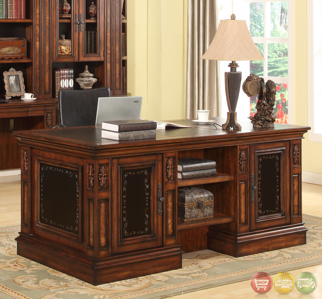 Library Wall Unit With Desk Double Pedestal Executive Desk
