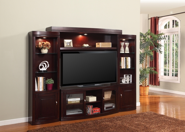 """Premier Biscayne Entertainment Wall Unit With 60"""" Console In Merlot"""