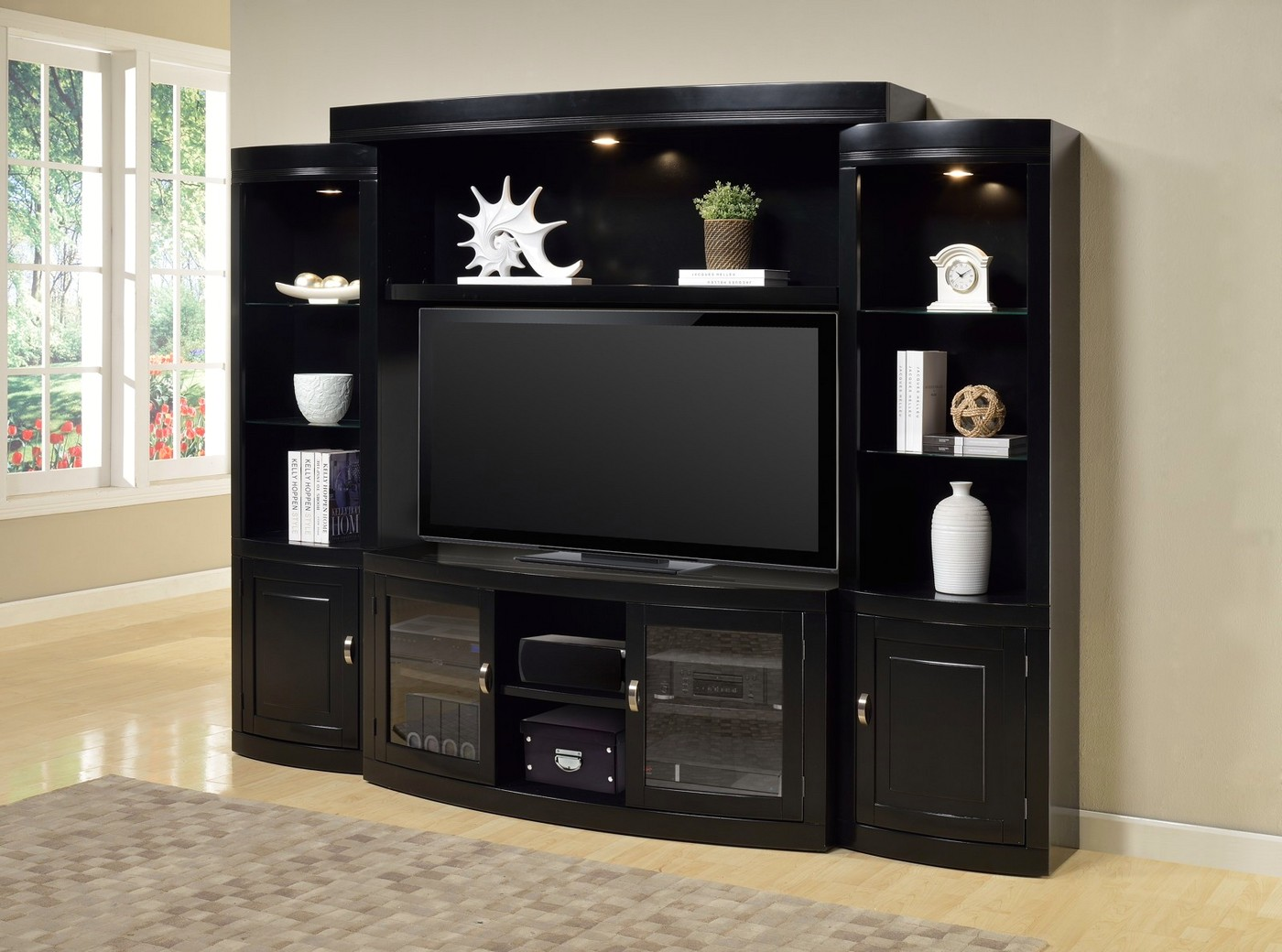 Premier Boardwalk Black 60 Quot Console Entertainment Wall