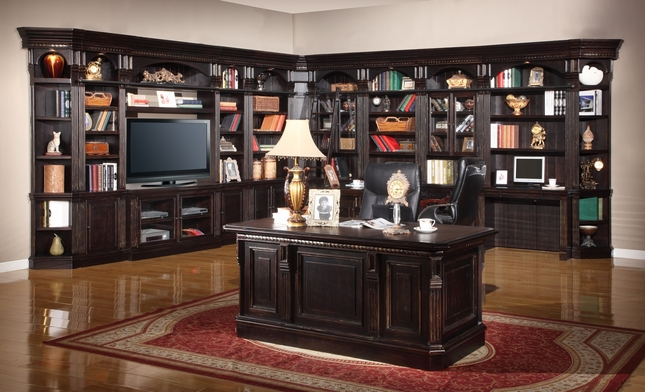 "Parker House Venezia Italian Home Library Wall with 50"" Entertainment Center"