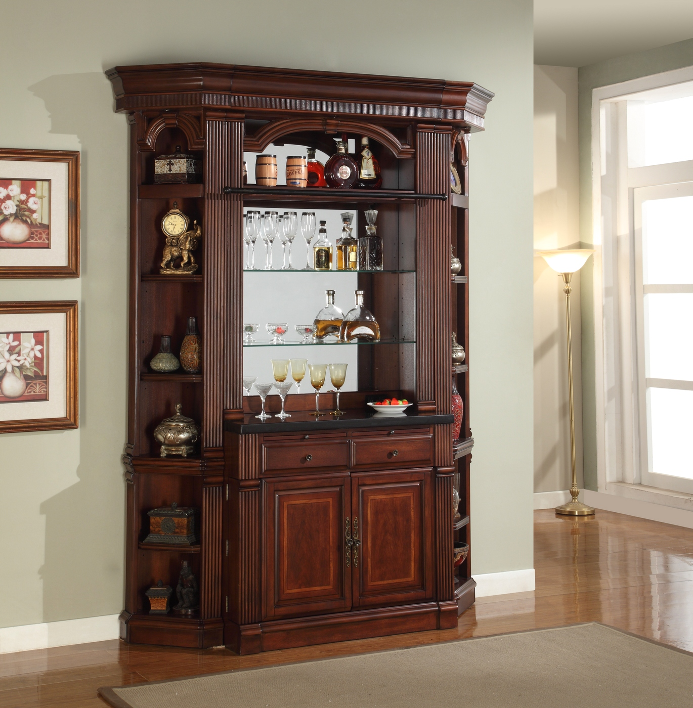 Household Stores: Parker House Wellington Antique Chestnut Finished Home Bar