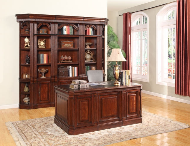 Parker House Welington Double Pedestal Executive Desk w/ Library Bookcase Wall